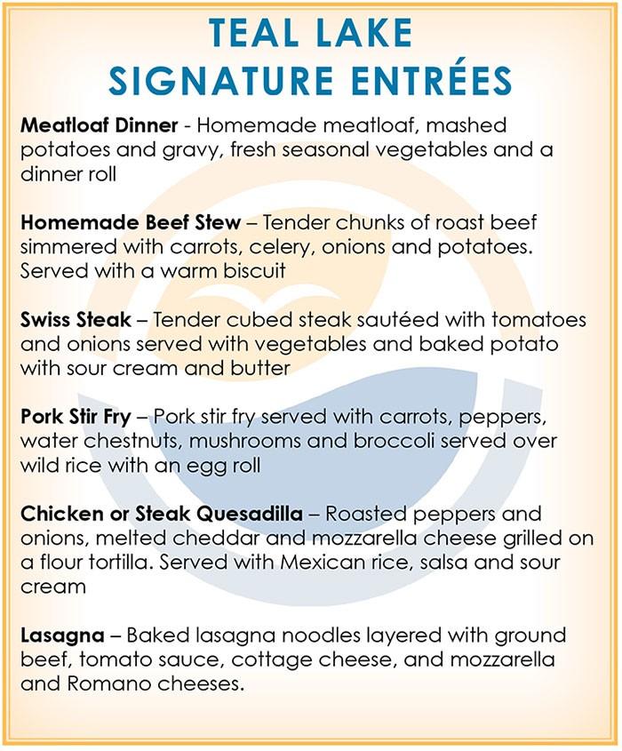 dinner entree menu