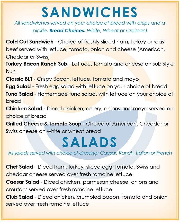 sandwich salads menu